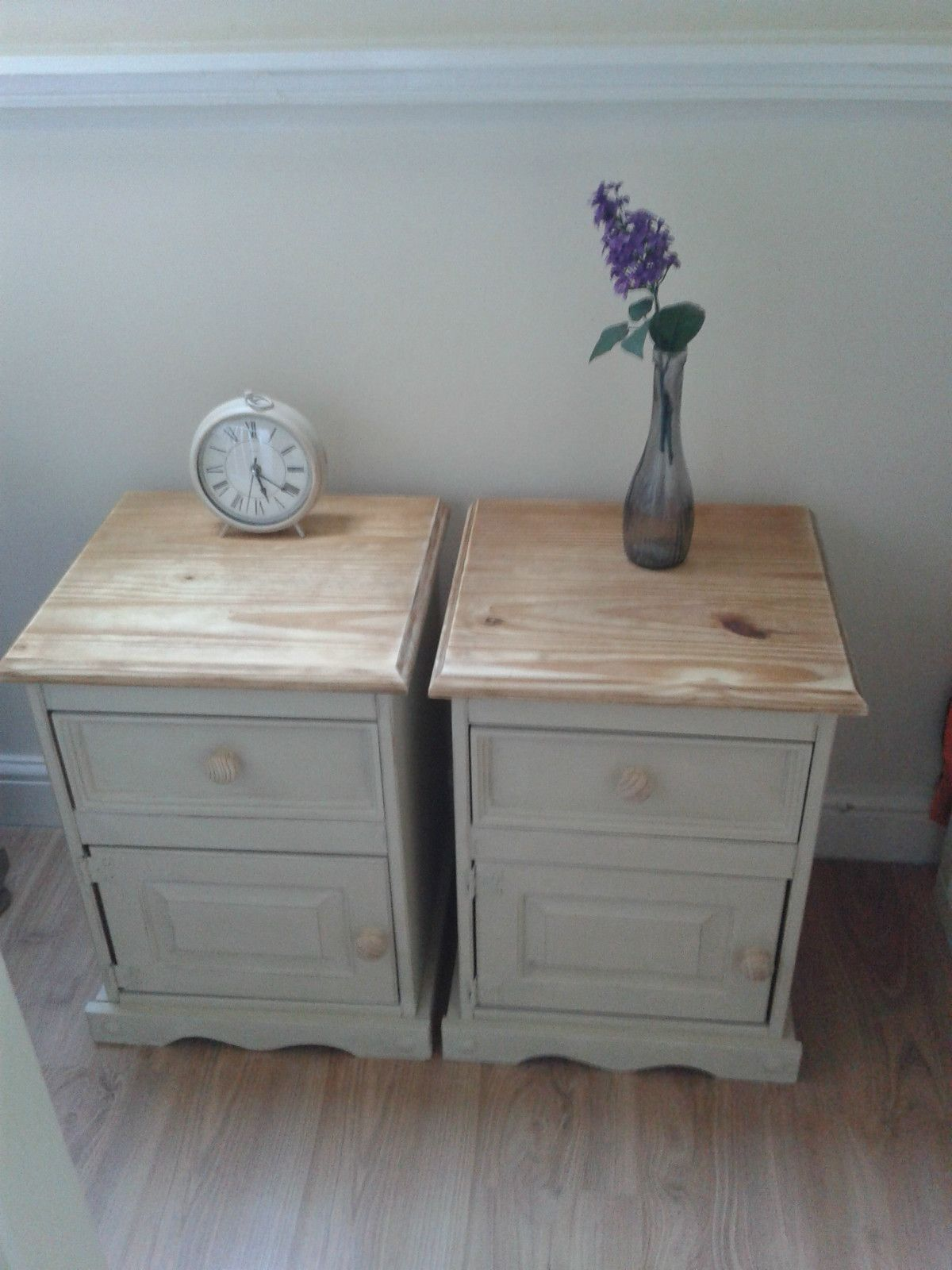 Vintage Painted Solid Pine Pair Of Bedside Tables Country Shabby Chic