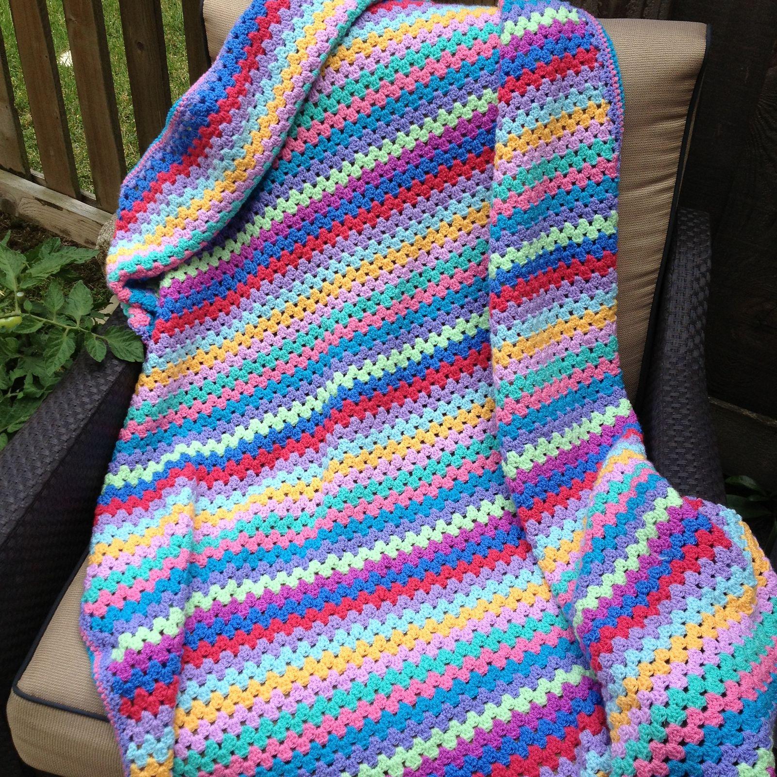 Increíble Crochet Granny Patrón Manta Raya Adorno - Manta de Tejer ...