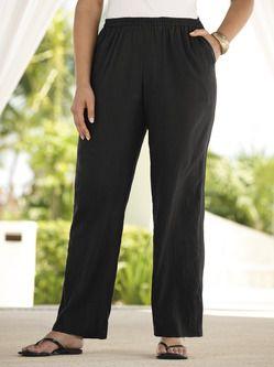 Plus Size Womens Clothing - Regular-length Tropi-cool Cotton Gauze Pants
