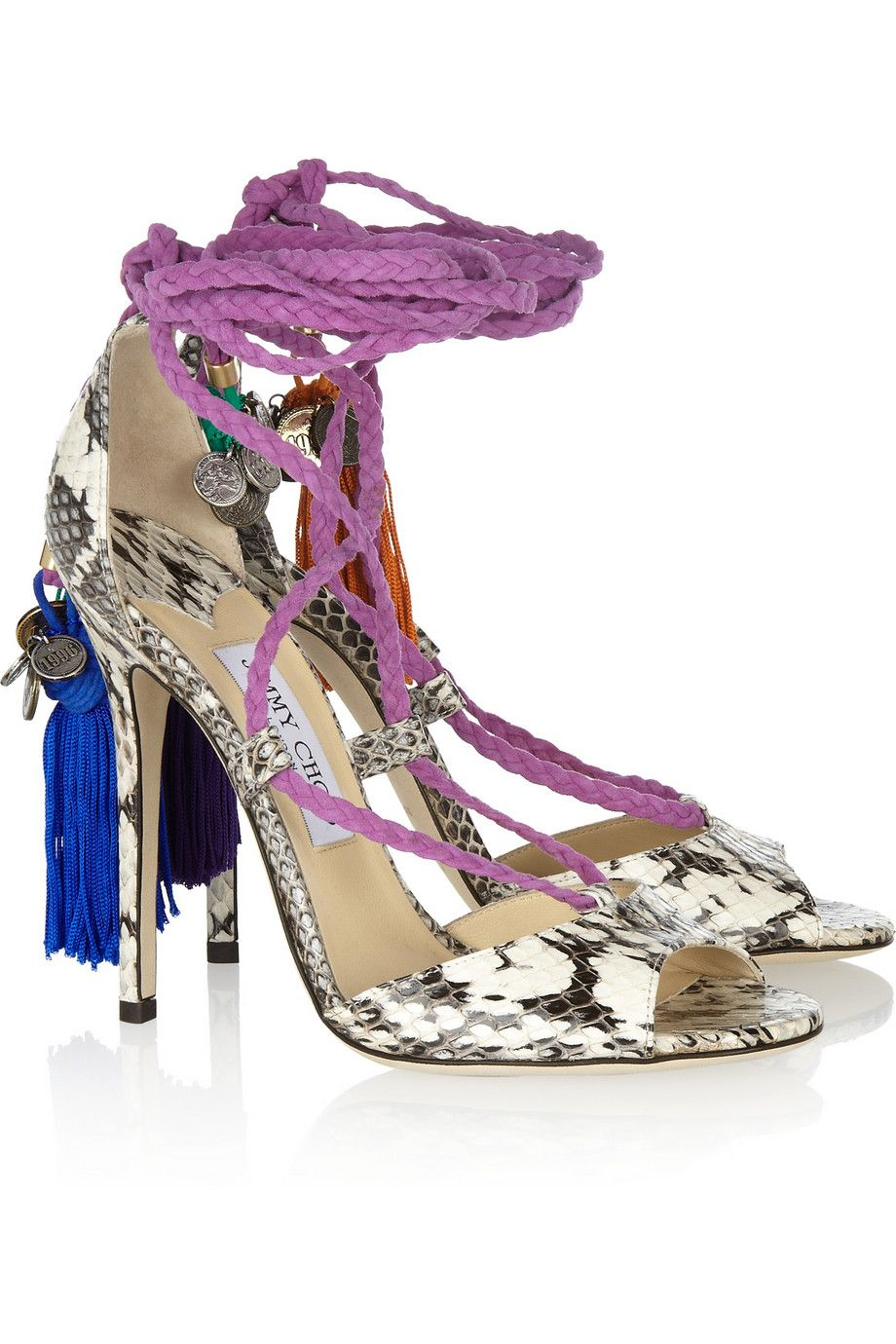 Jimmy Choo Dream rope-tie elaphe sandals [JC2013] - $216.60 : Discounted Christian Louboutin,Jimmy Choo,Valentino Shoes Online store