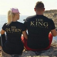 b48ad29cfe5d6 KING and QUEEN Couples T Shirt Clothes Plus Size Gold Letters ...