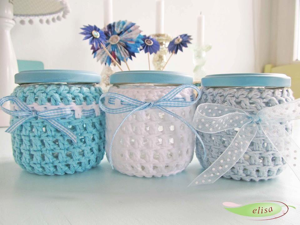 frascos decorados | Mi refugioi | Croché, Ganchillo y Ganchillo crochet