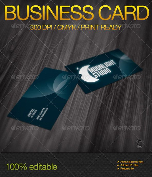 Moonlight studio business card moonlight business cards and business moonlight studio business card graphicriver simple but impressive business card it is perfect for any type of agency or studio fully editable reheart Images