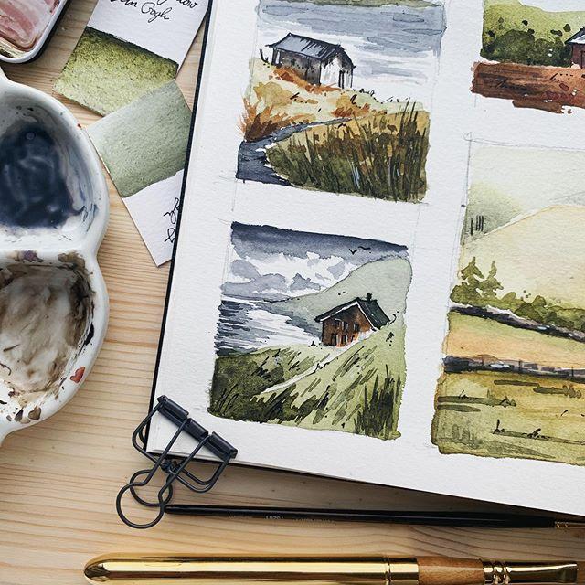 "Jowita ⠀Marczuk on Instagram: ""15 min landscape 🧡 #quicksketch  #global_sketchers #watercolor #watercolorartwork #natur…   Gouache art,  Watercolor art, Art painting"
