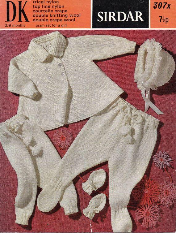 d7f781a20 Vintage baby girls pram set knitting pattern pdf download coat with ...
