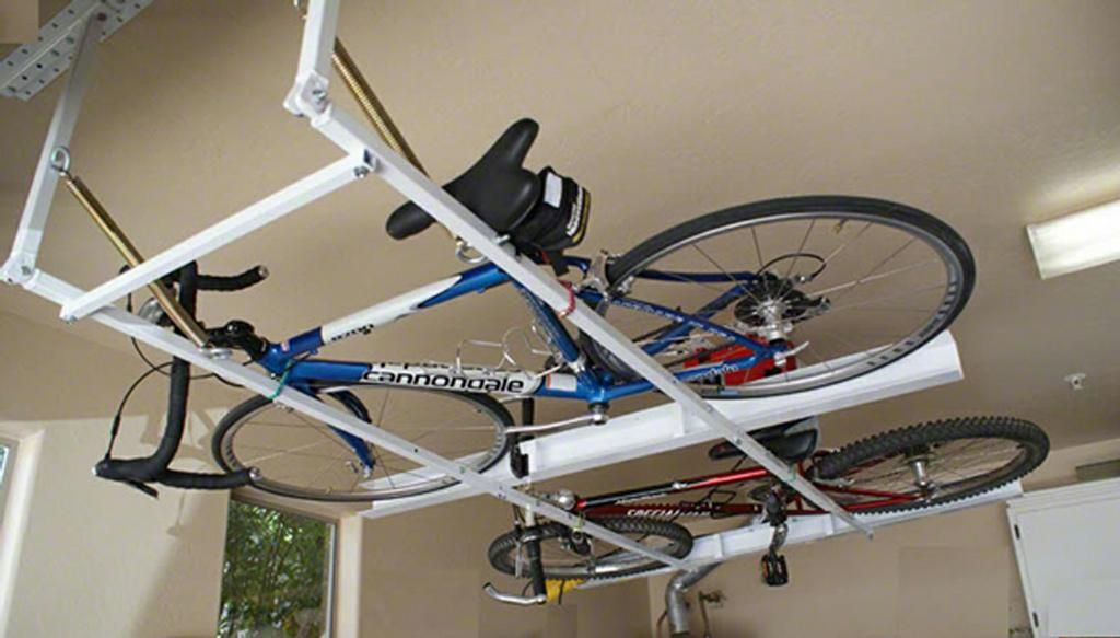 Horizontal ceiling bike rack for garage