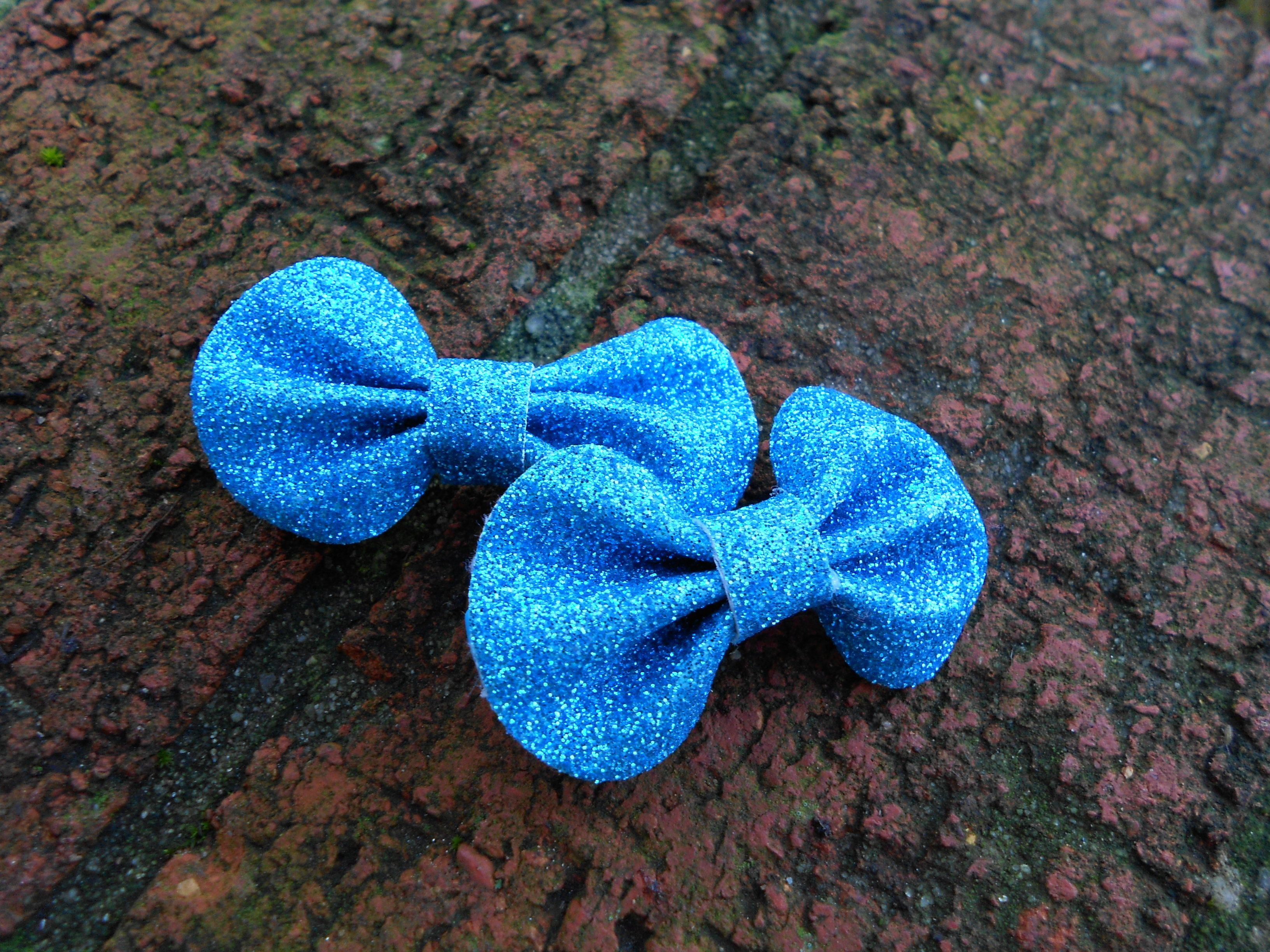 Dazzling Petite Blue Bows for hair.  Adorable way to spice up your every day look.