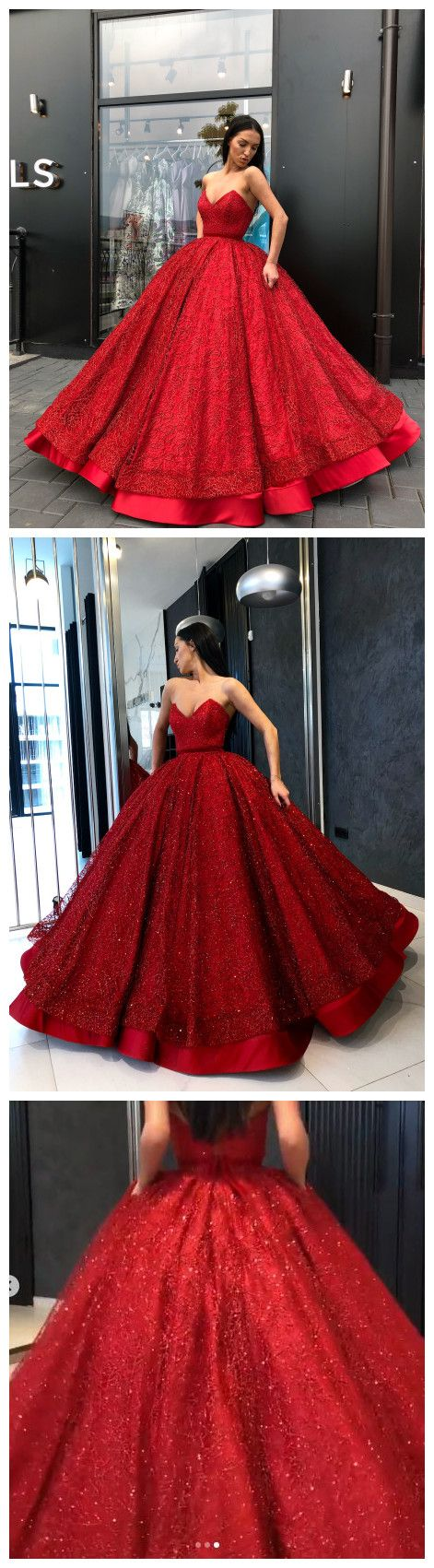 Chic ball gowns red prom dresses sparkly long party prom dress