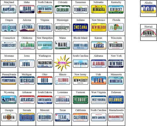 This is a photo of Astounding License Plate Bingo Printable