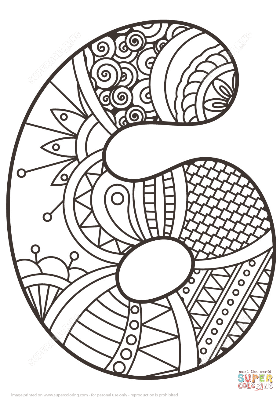 Number 6 zentangle super coloring