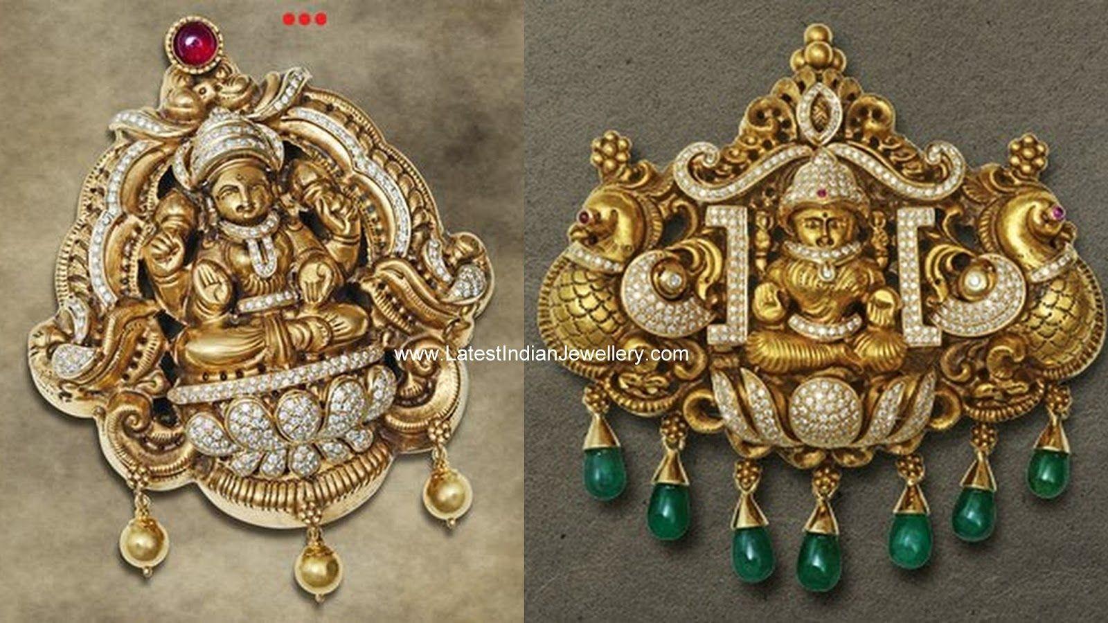 Diamond nakshi lakshmi pendants