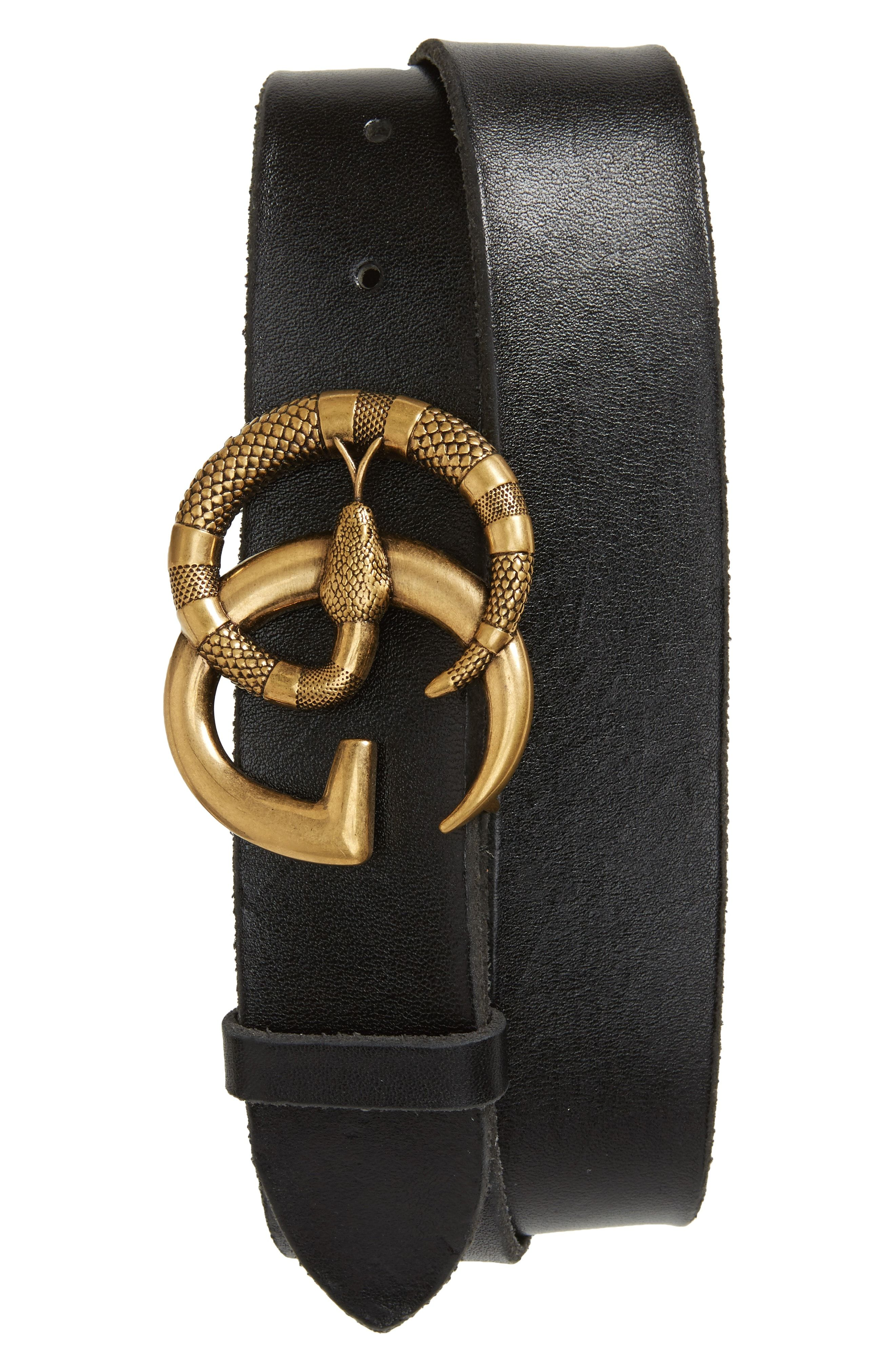 59310f1e8bf GUCCI LEATHER BELT WITH DOUBLE G BUCKLE WITH SNAKE