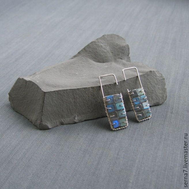 """Купить Серьги """"Bricks"""" - серебро 925 пробы, серьги из серебра, Простые серьги"""