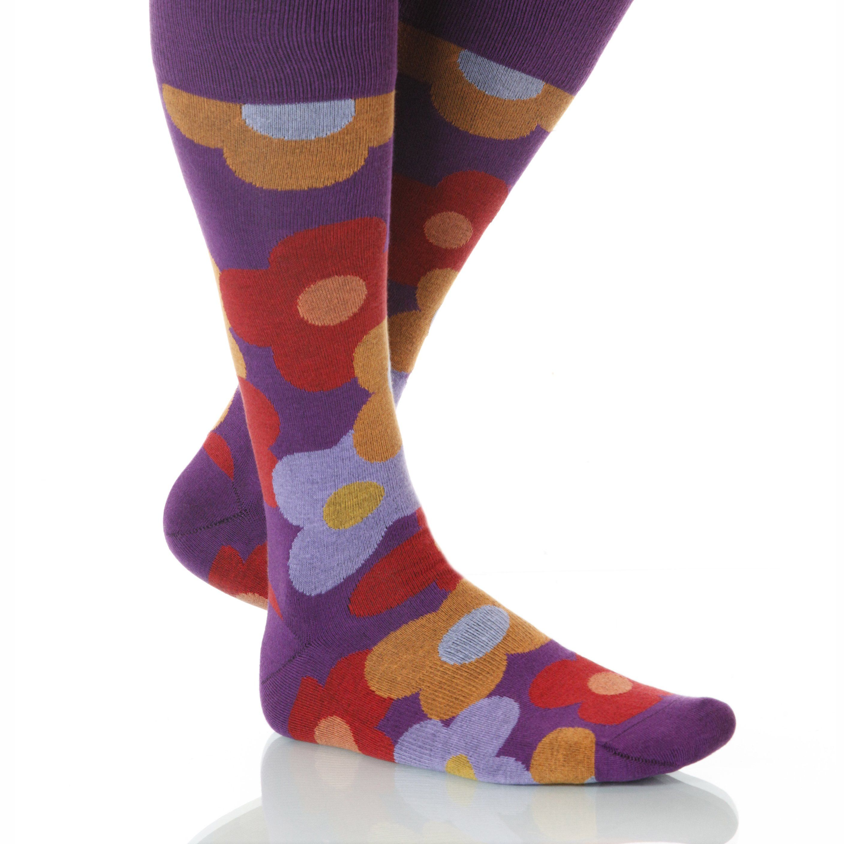 cee1155c1 Begonia Flora Socks; Men's or Women's Supima Cotton Purple/Orange in ...
