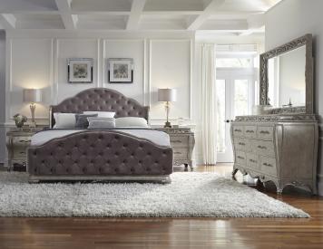 rhianna queen tufted bedroom set in platinum pulaski