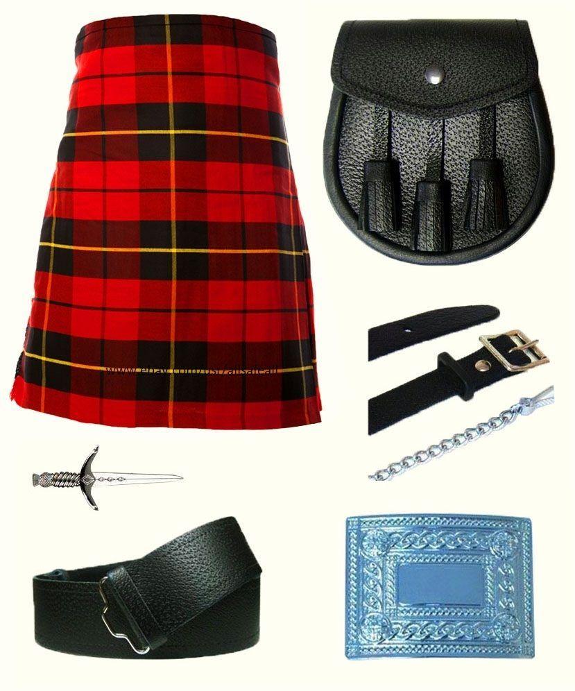 Men S Scottish 6 Piece Casual Kilt Outfit With Sporran Wallace Tartan Kilt Kilt Outfits Wallace Tartan Tartan Kilt