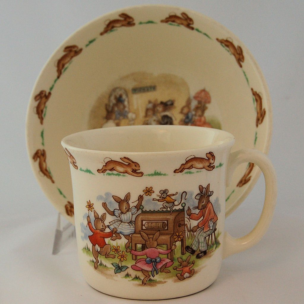 Beatrix Potter Bunnykins by Royal Doulton Children Cup and Bowl from Antik Avenue on Ruby Lane & Beatrix Potter Bunnykins by Royal Doulton Children Cup and Bowl from ...