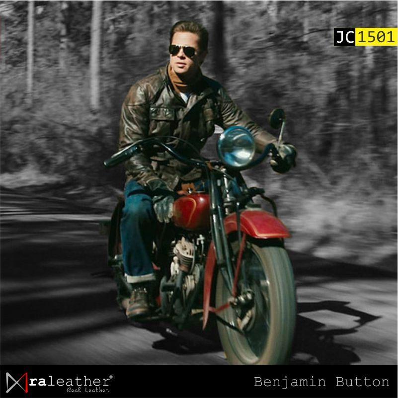 Jaket Biker Motor Jaket Kulit Jc1501 Benjamin Button Brad Pitt Ra Leather Jaket Kulit Harga Pabrik Bahan Kulit Asli Kualitas Terbaik Model Terbaru 2021 Jaket Kulit Brad Pitt Jaket