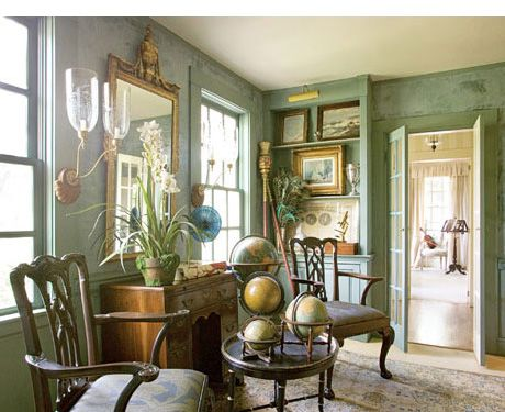 Rustic Family Room With Painted Window Trim