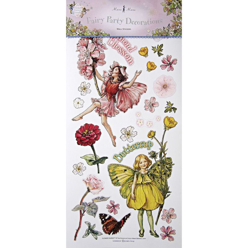 "$13 for set, 10"" x 21"" flower fairies wall stickers 