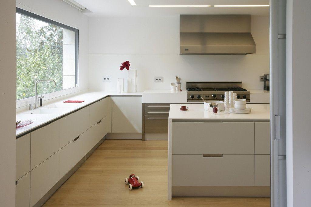 SANTOS kitchen Cocina sin tirador diseño Minos en color blanco - cocinas en l