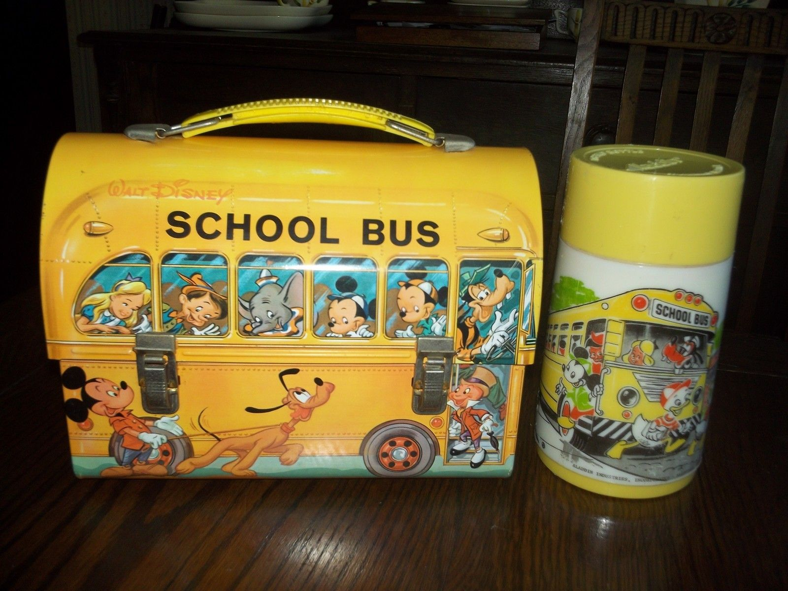 Disney School Bus Dome Lunch Box Thermos Vintage Classic