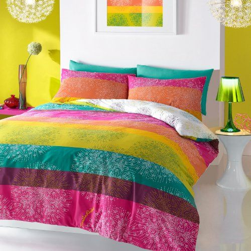 Zandra Rhodes Bedding Set Multi Coloured Reversible Rainbow Single Duvet Cover