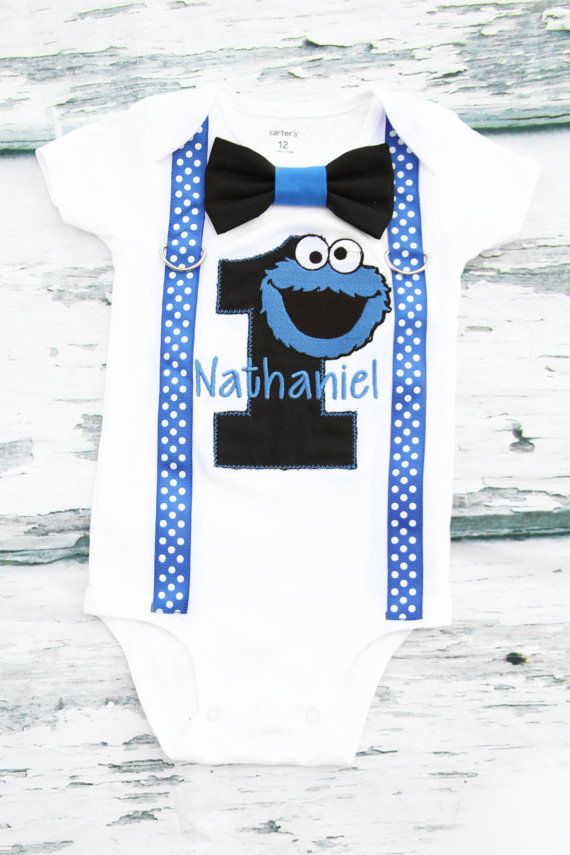 Boy first birthday shirt Cookie Monster Bow tie Suspenders Sesame ...