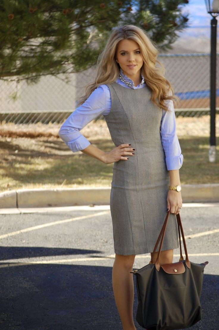 Dress With Collared Shirt Underneath Google Search Outfits For Work Fall Dress Outfit Gray Dress Outfit Fall Grey Dress Outfit [ 1107 x 736 Pixel ]