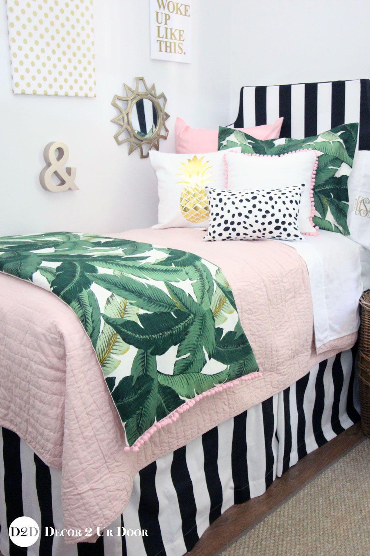 Blush Tropical Palm Dorm Bedding Set Dorm Bedding Sets Designer Dorm Bedding Dorm Bedding