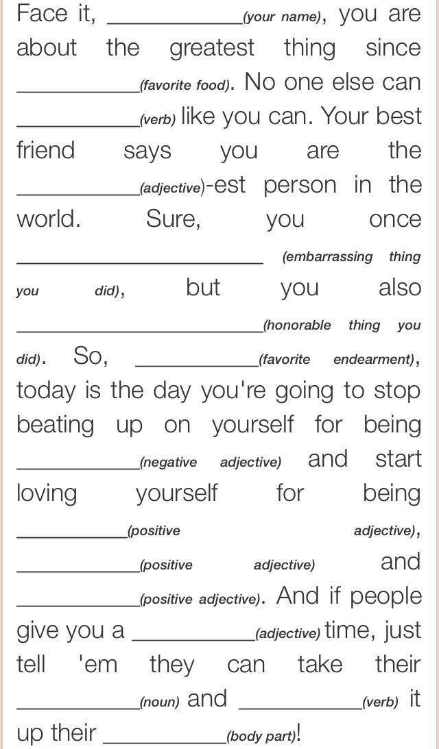 Self Esteem Mad Lib Worksheets Thera