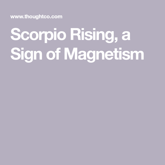 Scorpio Rising, a Sign of Great Magnetism   Scorpio