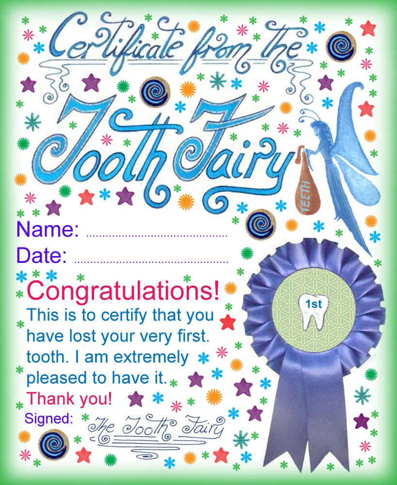 Tooth Fairy Certificate Award for Losing Your Very First