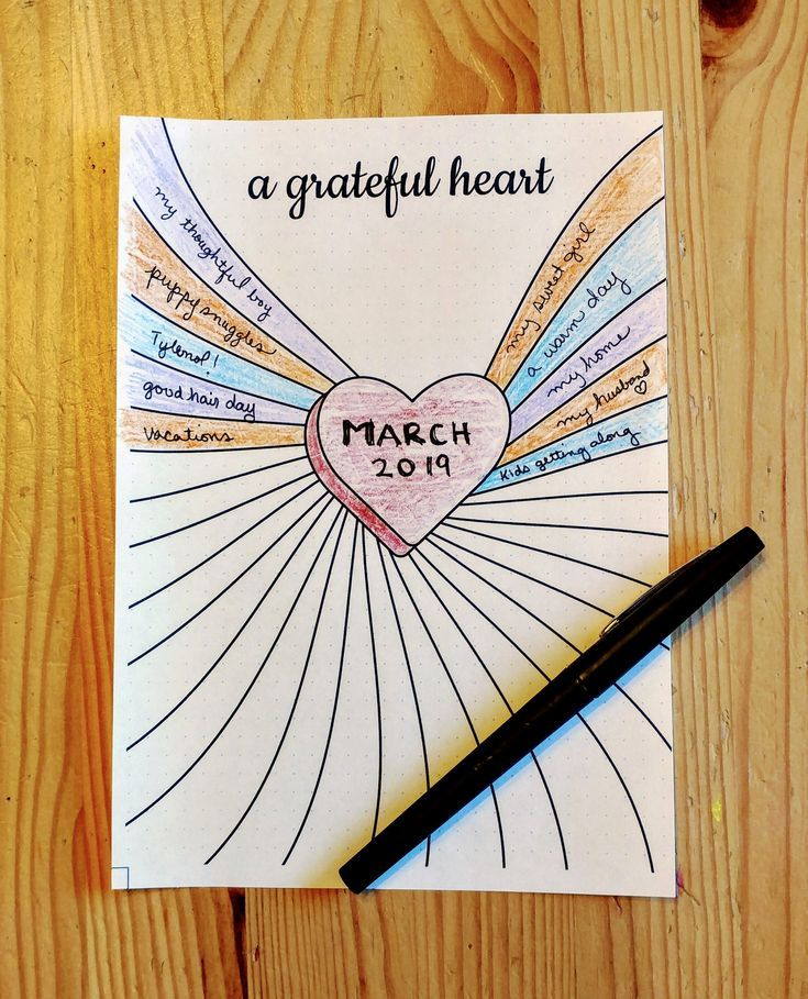 Gratitude Journal Printable  Heart  Daily Gratitude Log | Etsy