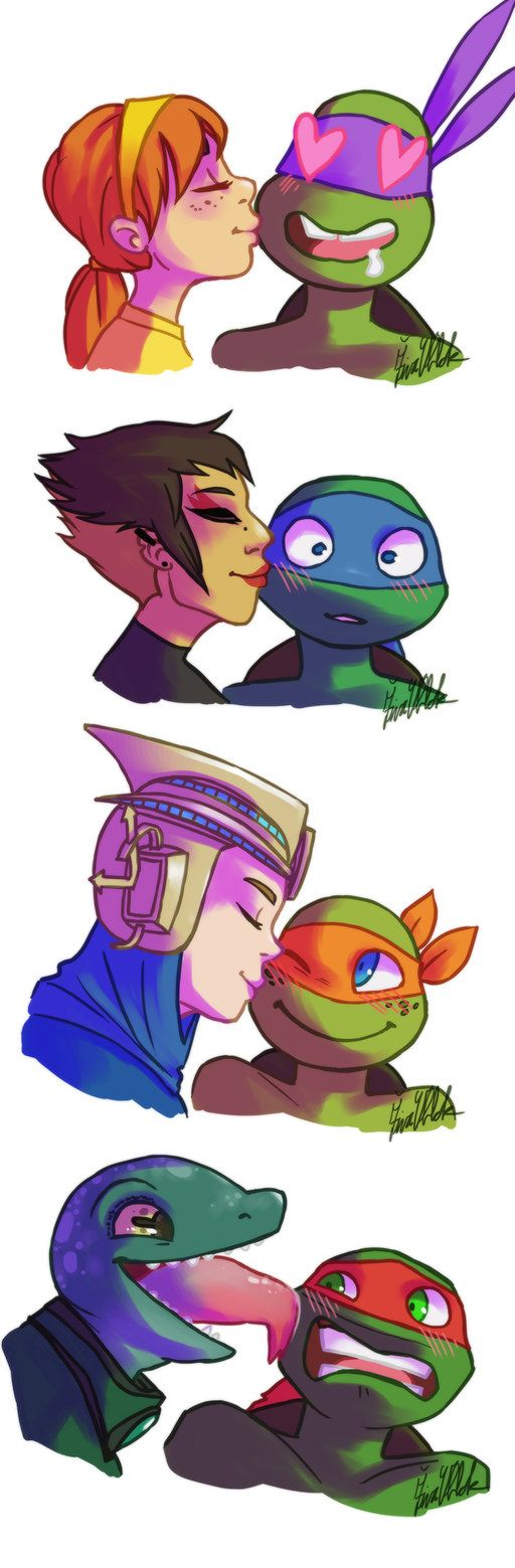 TMNT 2012 officially has a love interest for each turtle!!! Congrats for RaphxMonaLisa Get ready for a romance filled OTP week  (Monday- AprilxDonnie, Tuesday- LeoxKarai, Wednesday- MikeyxRenet, Thursday- RaphxMonaLisa, Friday- All 4 ships!!!!):