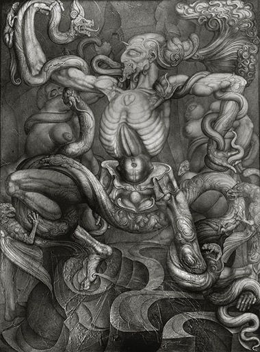 THE ANTI-LAOCOON (LAOCOON VICTOR), 1965  Pencil drawing on chalk grounded cloth and paper appliqués, 150x200cm
