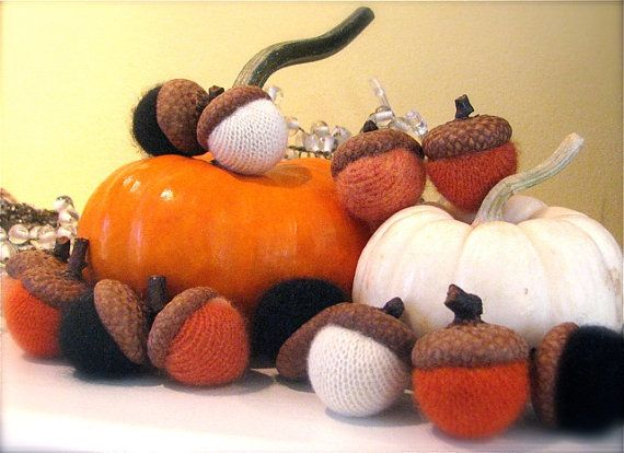 Ready to ship Halloween Wool Acorns 100 Cashmere 12 orange by - natural halloween decorations