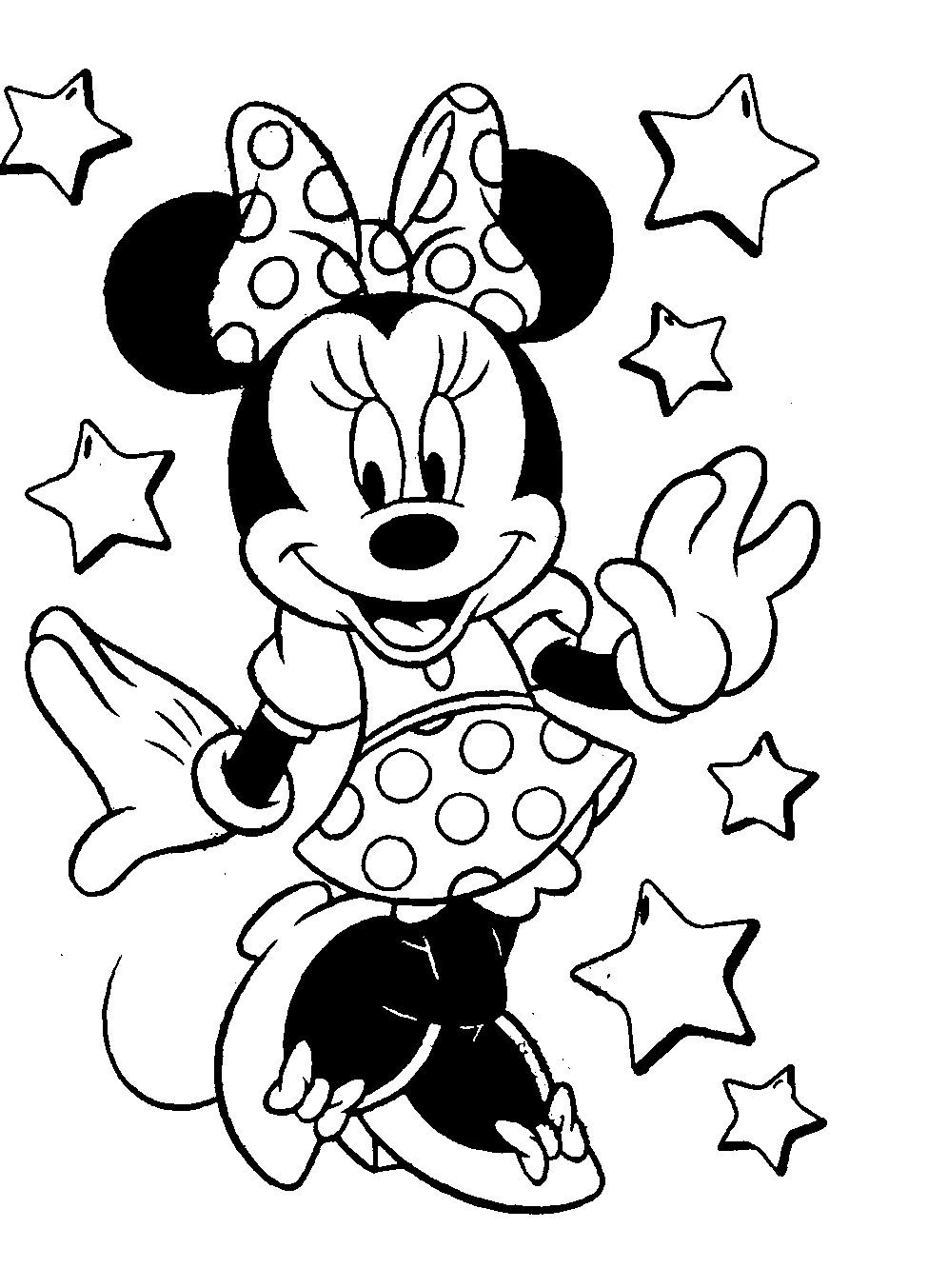 ダウンロードできるディズニーのミッキー・ミニーのぬりえです。 画像を