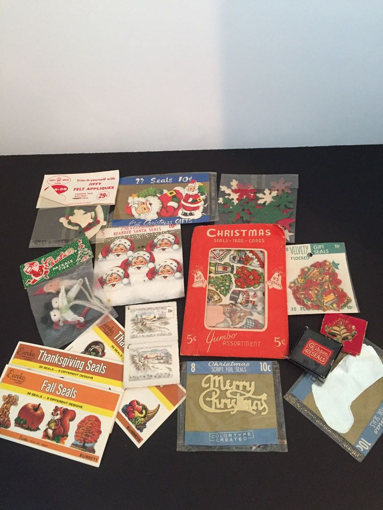 Vintage Christmas Seals, Tags, Flocked Seals, Santa Seals, Felt Appliques Plus
