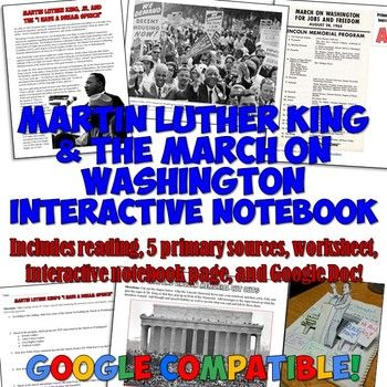 Martin Luther King I Have A Dream Interactive Notebook Worksheet