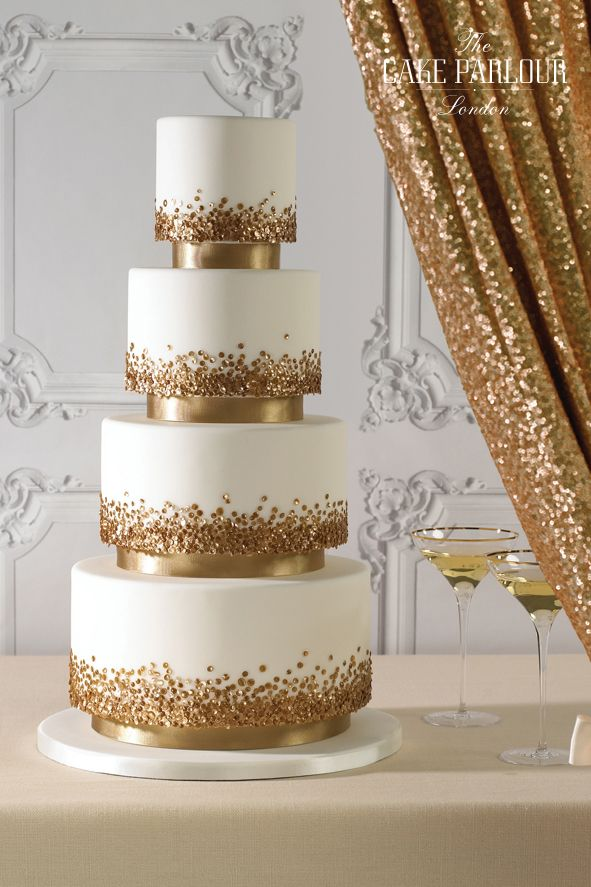 GLISTEN GLAM GOLD SEQUIN Wedding Cake By The Parlour Suspended Tiers Embellished With
