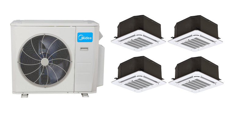 Split Air Conditioning System Warehouse Shop A Midea 21 Seer 4 9000 Btu 4 Zone Cassette Mini Split Ductless Air Conditioner Heat Pump Heat Pump Air Conditioner