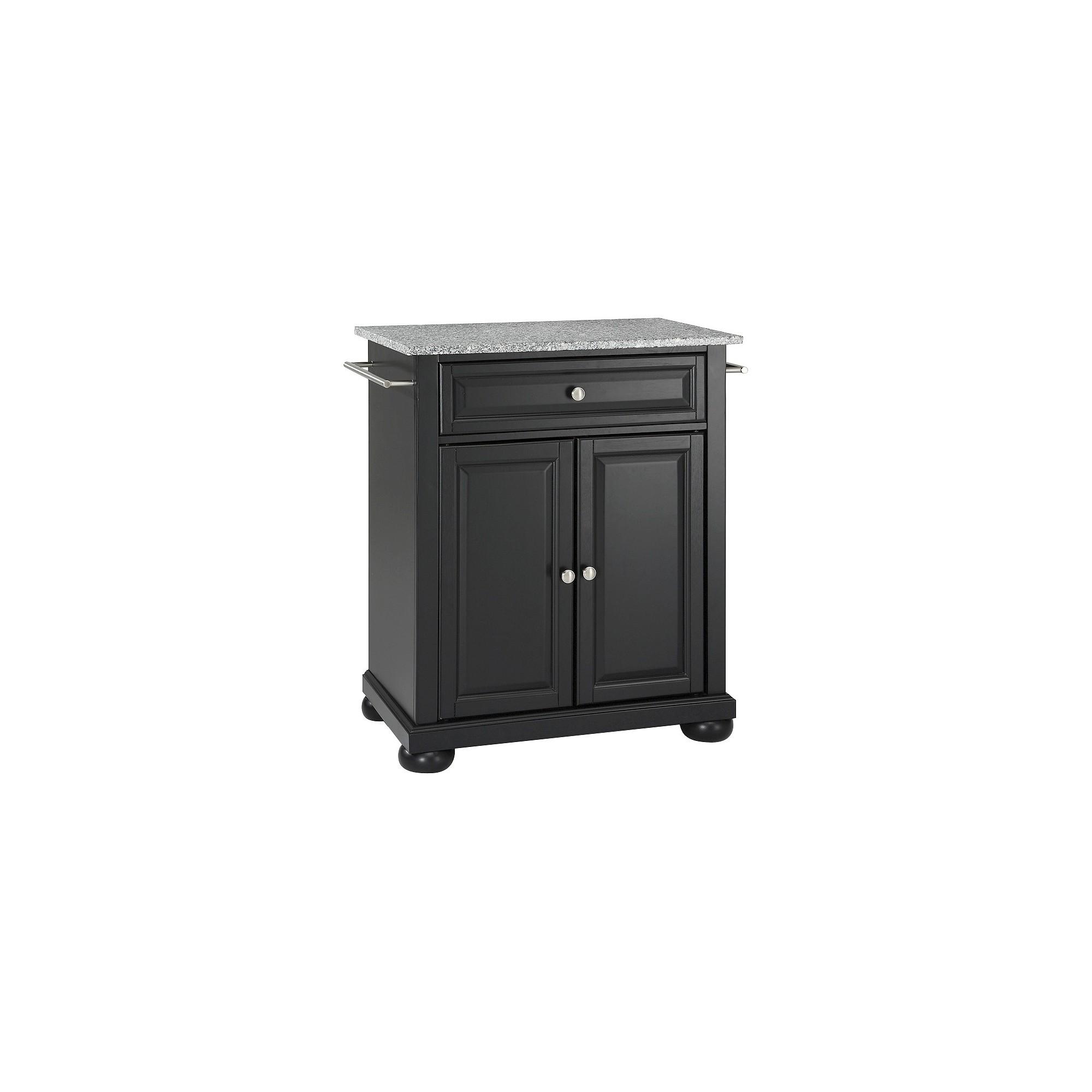 Alexandria solid granite top portable kitchen island black
