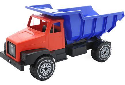 Plaston iso kippilavalla varustettu kuorma-auto tuleviin oman pihan leikkeihin. Auton pituus 60 cm. Saatavilla PRISMASTA tms