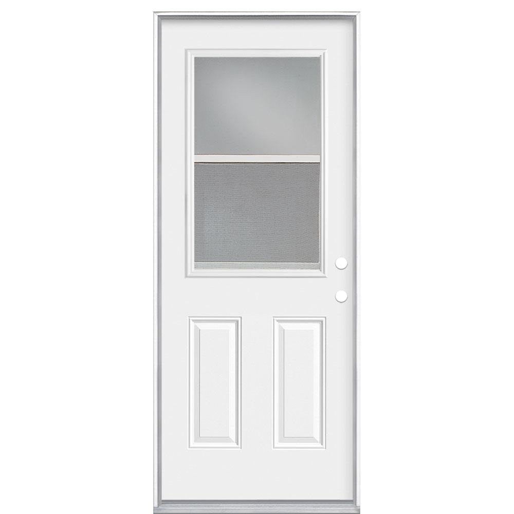 Masonite 32 In X 80 In Premium Vent Clear Steel 1 2 Lite Left Hand Inswing Primed White Prehung Front Exterior Door 44966 The Home Depot In 2020 Exterior Front Doors Steel Doors Exterior Exterior Doors