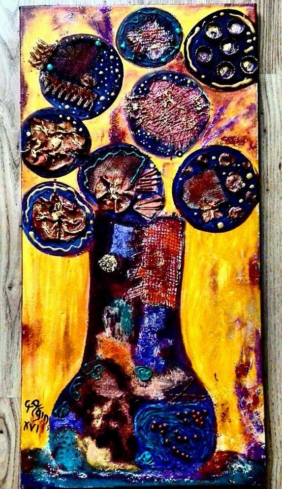 mixed media-flowers-canvas art