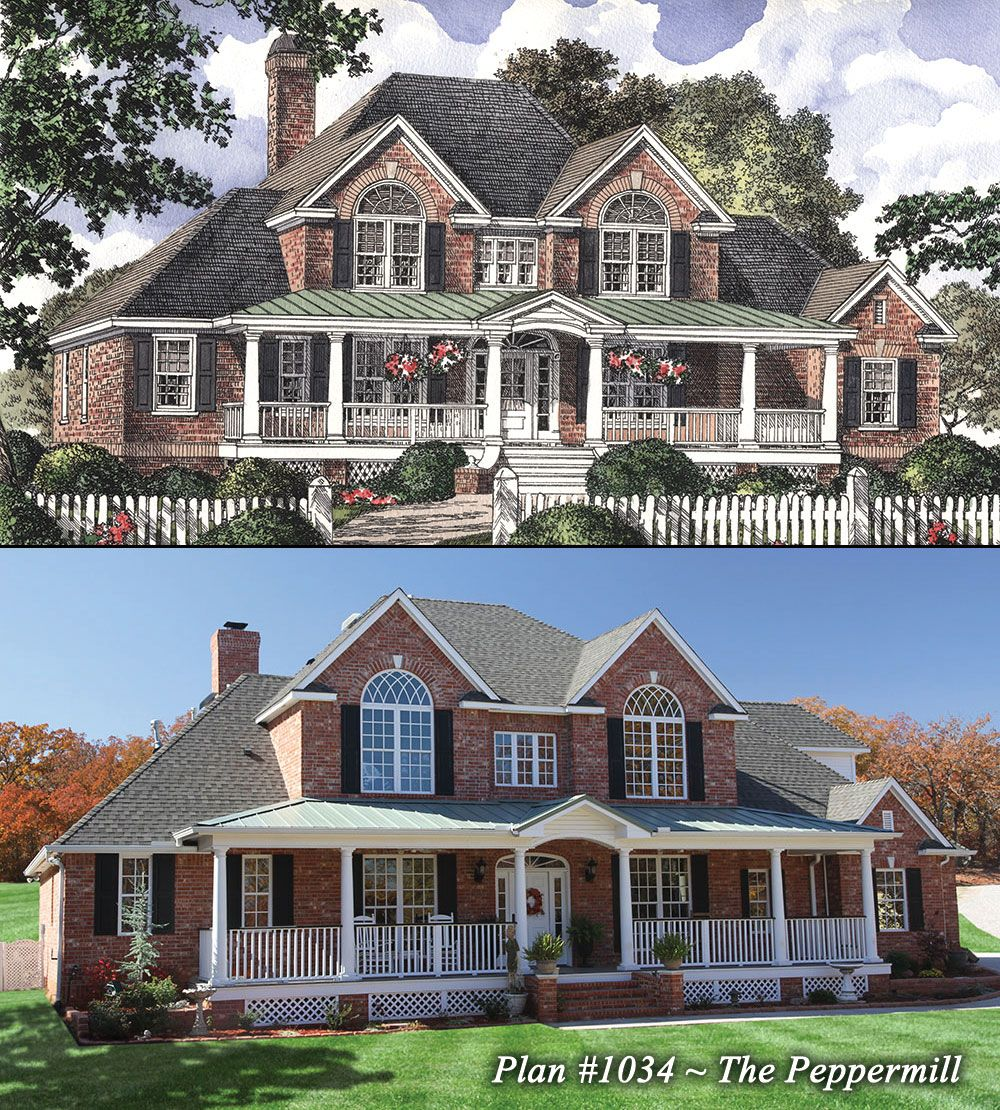 The peppermill plan 1034 wrapping a for Brick country house plans