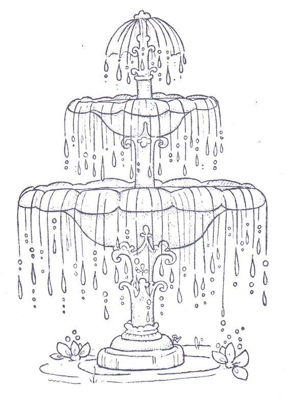 Fountain Coloring Pages Paper Embroidery Magnolia Stamps