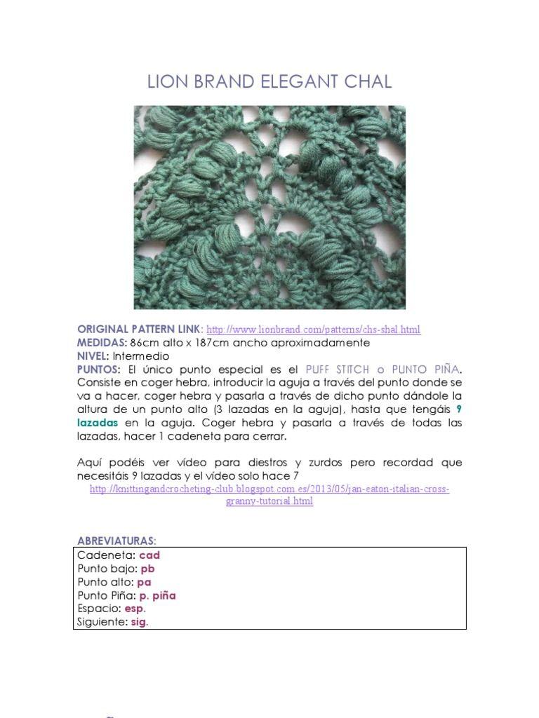 Crochet: Tutorial paso a paso Lion Brand Elegant Shawl (Español ...