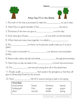 Free Printable Arbor Day Worksheets